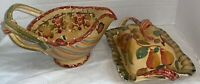 Made in Italy Set of 2 Hand Painted Fruit pattern Pottery Serving Pieces