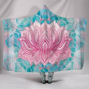Magical Pink Lotus Crafted Hooded Sherpa And Microfiber Blanket With Hood