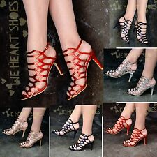 Womens Metallic Heeled Sandals Strappy Caged Gladiator High Heels Shoes Party