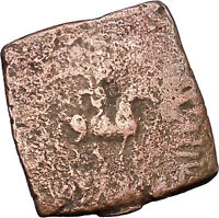AZILISES 85BC INDO SKYTHIAN King on Horse Bull Ancient Greek Coin India i47061