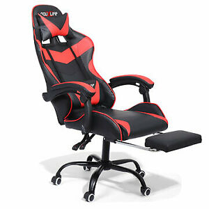 Red Home/Office Chair Ergonomic Design 150°Reclining Thick Padd Lumbar Support