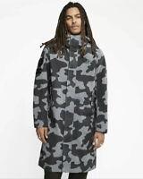 Nike Sportswear NSW Army Black  Grey Camo Parka Long Fishtail Jacket Size Large