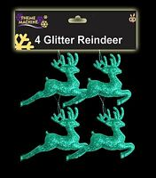 4 x 9.5cm Turquoise Glitter Reindeers - Christmas Tree Decorations (DP183) C