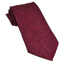 New Men's Polyester Woven Neck Tie necktie only burgundy paisley prom wedding