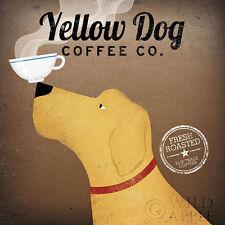 Yellow Dog Coffee Co. by Ryan Fowler Coffee Sign Dog Lab Animals Print Poster