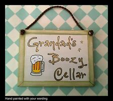 Fathers Day Dad Grandad Plaque Sign Personalised with Wording beer glass cellar