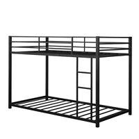Twin Over Twin Bunk Bed Metal Platform Bed Frame W/ Guard Rails & Side Ladder