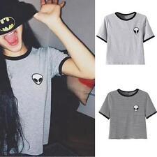 3D imprimé Aliens crop tops manches courtes T-shirt femmes Tops haut décontracté