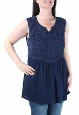 Style Co Button Front Solid Tank Knit Top Navy Size large L