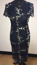 Women's Whistles Dress. Navy Blue Sheer With Embroidered Daisy. Size 10.