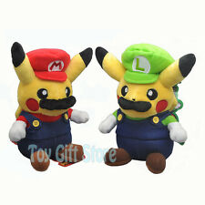 "2 pcs Mario & Luigi Pikachu Cosplay 8"" Poke Plush Doll Stuffed Toy"
