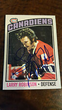 1976-77 OPC SIGNED CARD LARRY ROBINSON MONTREAL CANADIENS KINGS DEVILS HOF # 151
