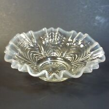 """Fenton Reverse Drapery Clear White Opalescent Glass Ruffled Bowl Crimped 8 3/8"""""""