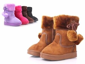 Camel Color Side Zipper Pompom Baby Toddlers Kids Girls Faux Fur Booties Size 9