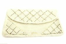 Vintage Purse Evening  Bag Champagne Beaded Pearls Clutch Japan 1950S