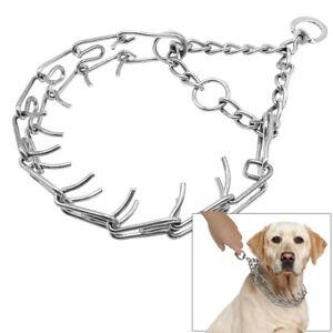 Martingale Dog Training Choke Chain Collar Adjustable Metal Steel Prong Pinch