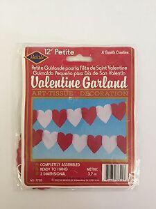 Beistle 12ft Valentine Garland Heart Tissue Valentines Day Decorations 1993 NOS