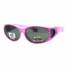 Polarized Lens Fit Over Glasses Sunglasses Womens Oval Frame Rhinestones PURPLE