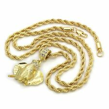 "Hip Hop Necklace 4mm 30"" Rope Chain 3D Elephant Custom Pendant 14k Gold Plated"