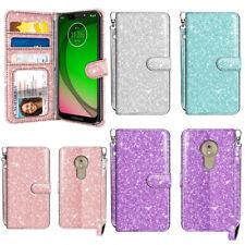 For Motorola Moto G7 Play / T-Mobile Revvlry Glitter Wallet STAND Cover Case