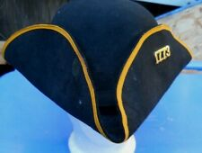 VINTAGE MILITIA TRICORN COLONIAL FITTED  BLACK 3 X BEAVER HAT SZ 7-1/2 COAT OF A