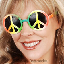 A799 Rainbow Peace Hippy Glasses Hippie 1960s 60s 70s Symbol Retro Sunglasses