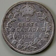 1911 Canada Canadian Silver 5 Cent Coin - One Year Type
