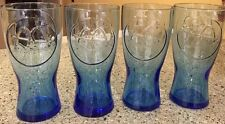 4 McDonald's Cobalt Blue Collectible Glass Drinking Tumblers Vintage 1961