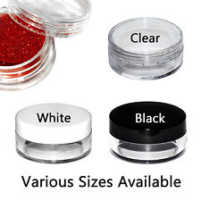 Small Round Plastic Jars Pots Containers Black White Clear Screw top Cosmetic