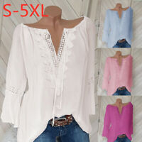 New Womens Long Sleeves Blouse Solid Color V-Neck Tops Casual T-shirt Loose Tee