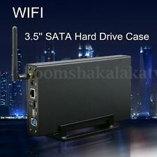 """3.5"""" USB 3.0 WIFI Hard Drive Case Router Repeater HDD Enclosure with RJ 45 Slot"""