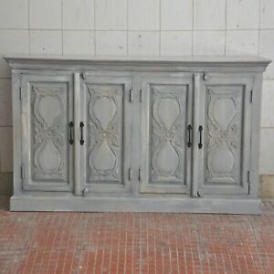 Made to Order Floral Hand Carved Solid wood Sideboard Grey L