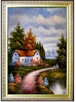 Framed Landscape with Path and Cottage Quality Hand Painted Oil Painting 24x36in