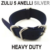 BANDS STRAPS WATCH BLUE NAVY NYLON 5 RING SILVER 18mm 20mm 22mm 24mm ZULU