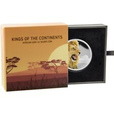 2016 Niue Kings Continents African Lion $2 Two Dollar Silver Proof Coin Box Coa