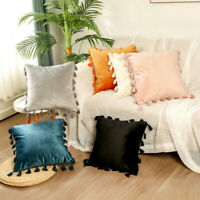 Velvet Tassel Throw Pillow Cover Pillow Case Cushion Cover Sofa Home Decor 45cm