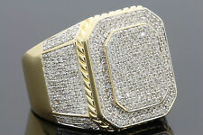 1.75 CARAT MENS YELLOW GOLD FINISH DIAMOND ENGAGEMENT WEDDING PINKY BAND RING