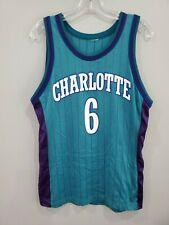 Rare VTG Custom Champion Charlotte Hornets Eddie Jones 6 Jersey Mens 36 S Lakers