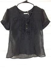 acbf5a81d2a Kimchi Blue Womens Black Sheer 100% Polyester Short Sleeve Ruffle Shirt j174