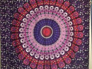 "NEW 60""x52"" Boho Purple Pink Feather Flowers Mandala Tapestry Wall Decor w/Clips"