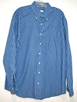PETER MILLAR MEN'S LONG SLEEVE BLUE PLAID BUTTON DOWN SHIRT XL 46