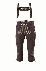 Nubuk Trachten Damen Lederhose mit Träger in olivbraun Knielang Neu