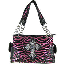 HOT PINK METALLIC ZEBRA RHINESTONE CROSS SHOULDER HANDBAG CONCEALED CARRY PURSE
