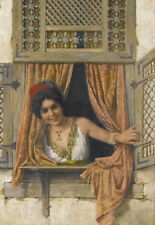"""oil painting handpainted on canvas""""A woman looking out of the window""""@8948"""