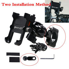 CNC Black Motorcycle Handlebar Cell Phone Mount Holder w/ USB Charger Universal