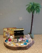 fairy accessories, pirate bottle,palm tree, treasure chest & map