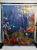 "Japanese kimono SILK""FURISODE"" long sleeves, Gold leaf, Lame, Flower, L62""..1619"