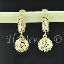18k solid yellow gold hoop earring earrings diamond cut ball  2.70 grams #614