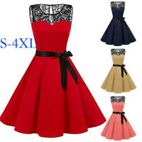 US Vintage 50s Sleeveless Retro Rockabilly Pinup Housewife Party Swing Dress da