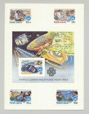 St Lucia #607-611 World Communications Year 4v & 1v S/S Imperf Proofs on 1v Card